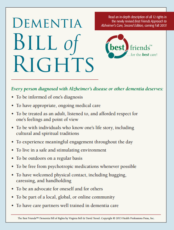 dementia bill of rights vicarage by the sea